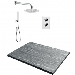 Pachet PONSI Madera cadita marmura, baterie termostatică, sigon și kit de duș